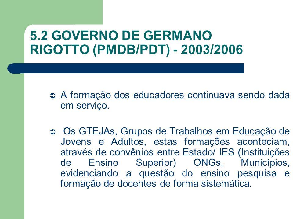 5.2 GOVERNO DE GERMANO RIGOTTO (PMDB/PDT) - 2003/2006 A formação dos educadores continuava sendo dada em serviço. Os GTEJAs, Grupos de Trabalhos em Ed