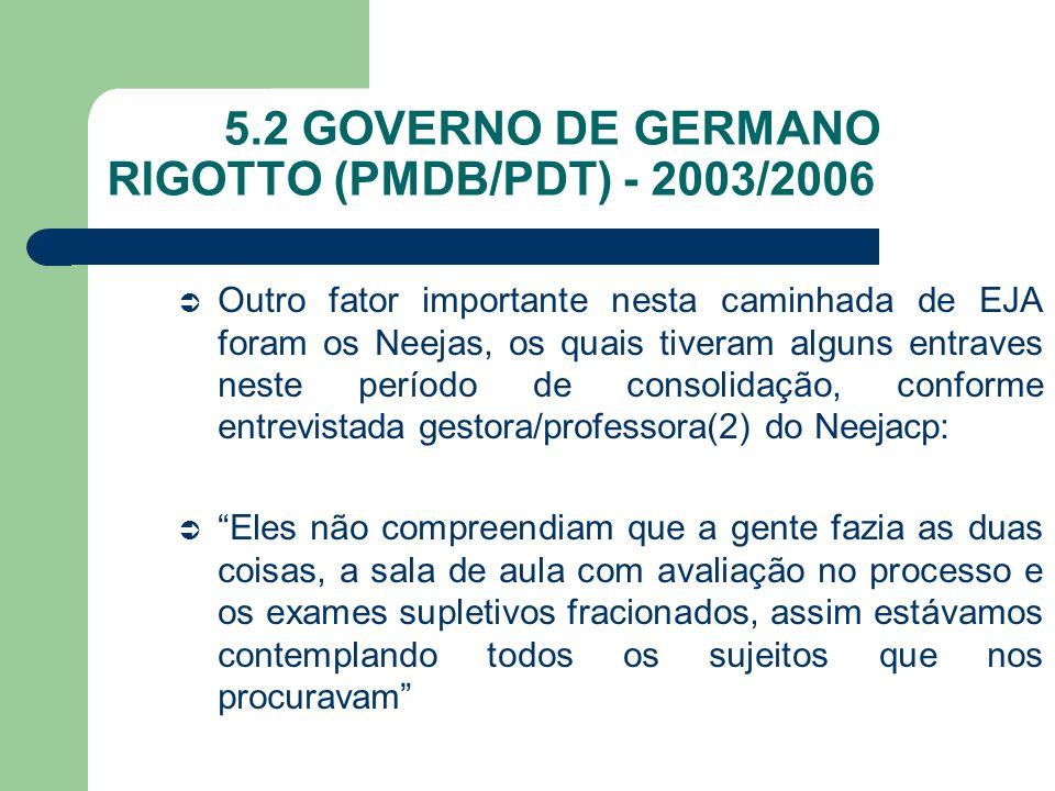 5.2 GOVERNO DE GERMANO RIGOTTO (PMDB/PDT) - 2003/2006 Outro fator importante nesta caminhada de EJA foram os Neejas, os quais tiveram alguns entraves