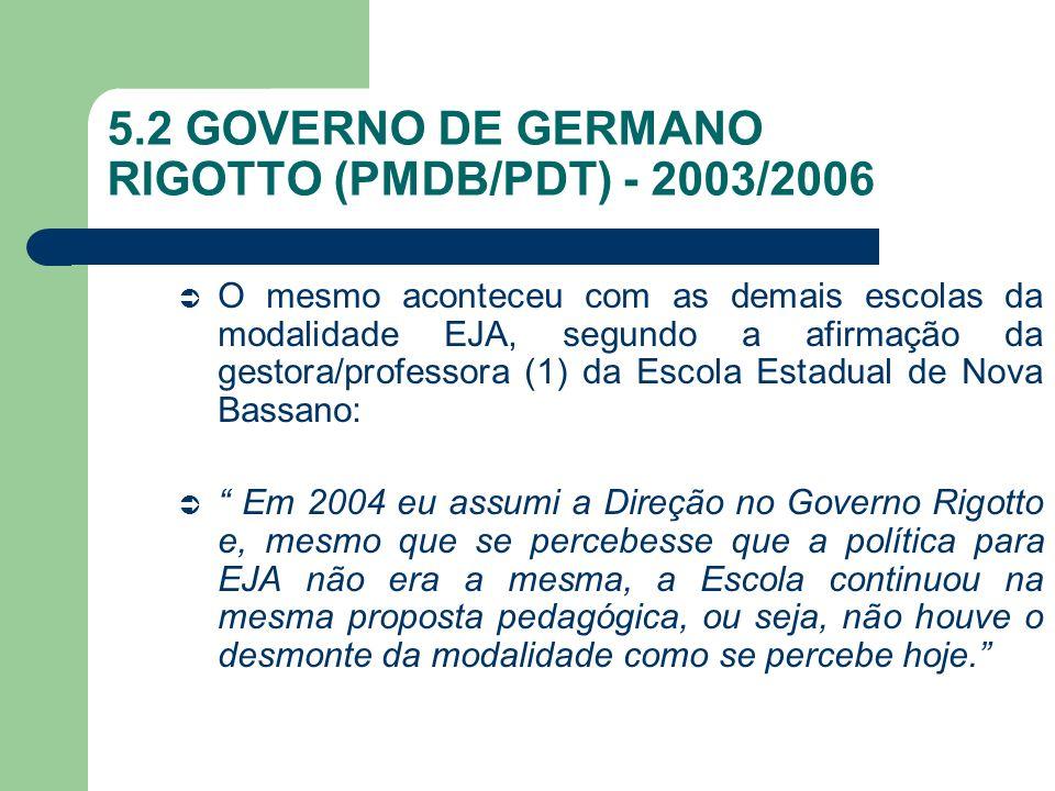 5.2 GOVERNO DE GERMANO RIGOTTO (PMDB/PDT) - 2003/2006 O mesmo aconteceu com as demais escolas da modalidade EJA, segundo a afirmação da gestora/profes
