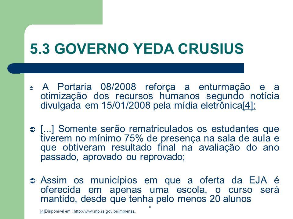 5.3 GOVERNO YEDA CRUSIUS A Portaria 08/2008 reforça a enturmação e a otimização dos recursos humanos segundo notícia divulgada em 15/01/2008 pela mídi
