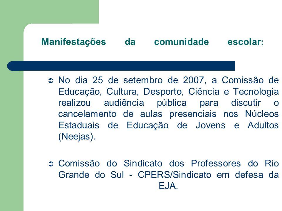 Manifestações da comunidade escolar : No dia 25 de setembro de 2007, a Comissão de Educação, Cultura, Desporto, Ciência e Tecnologia realizou audiênci