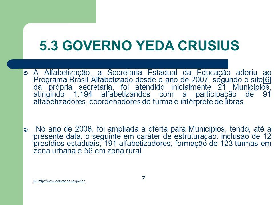 5.3 GOVERNO YEDA CRUSIUS A Alfabetização, a Secretaria Estadual da Educação aderiu ao Programa Brasil Alfabetizado desde o ano de 2007, segundo o site