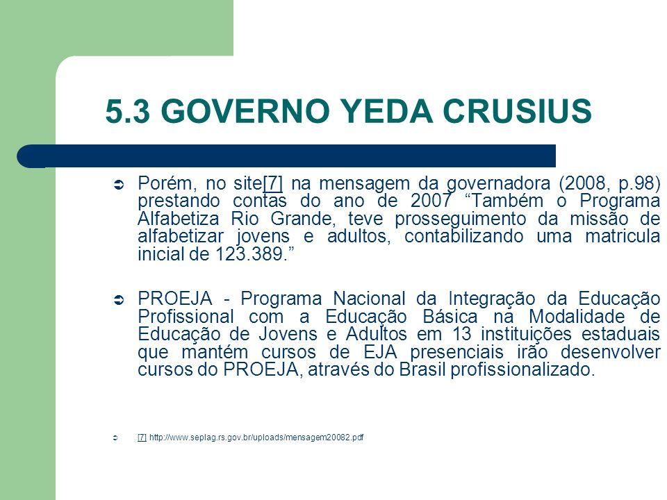 5.3 GOVERNO YEDA CRUSIUS Porém, no site[7] na mensagem da governadora (2008, p.98) prestando contas do ano de 2007 Também o Programa Alfabetiza Rio Gr