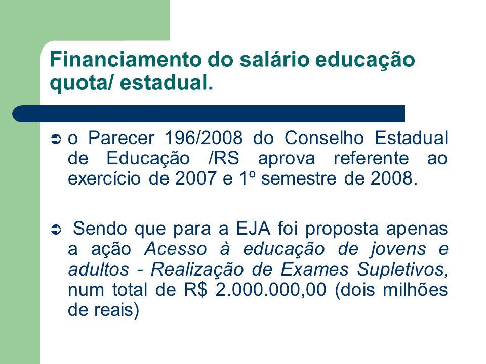 Financiamento do salário educação quota/ estadual. o Parecer 196/2008 do Conselho Estadual de Educação /RS aprova referente ao exercício de 2007 e 1º