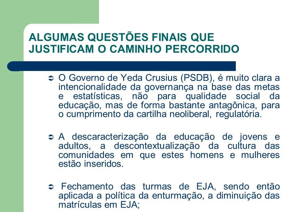 ALGUMAS QUESTÕES FINAIS QUE JUSTIFICAM O CAMINHO PERCORRIDO O Governo de Yeda Crusius (PSDB), é muito clara a intencionalidade da governança na base d
