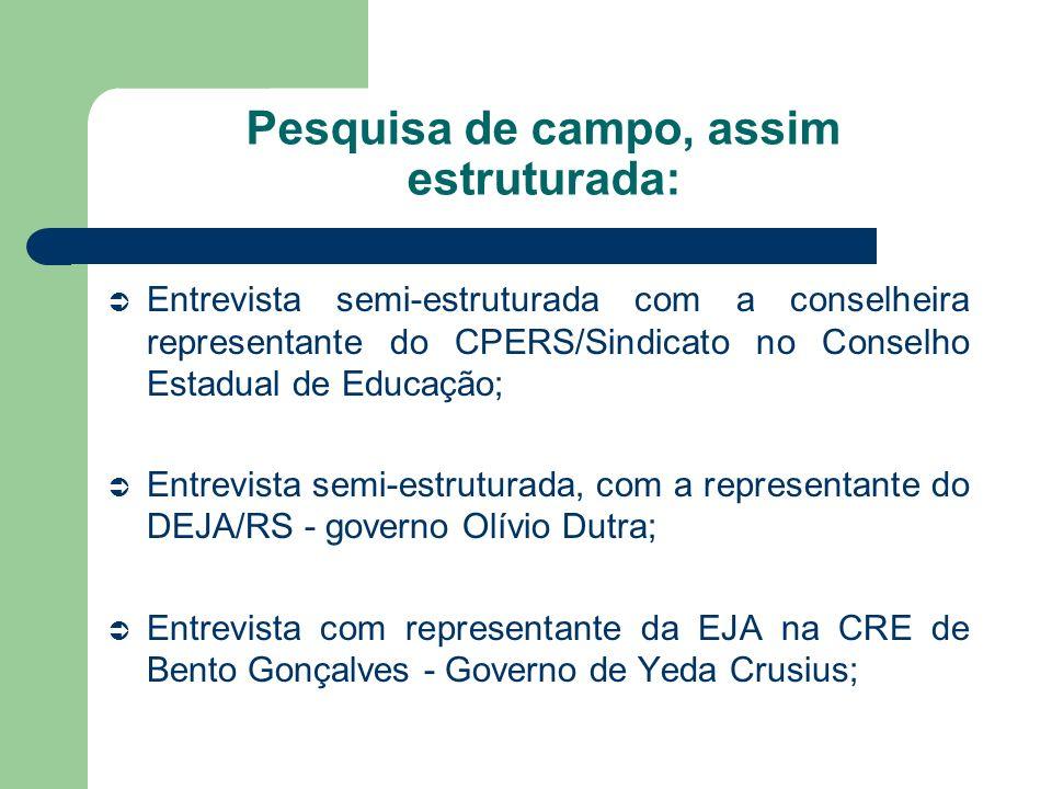 Pesquisa de campo, assim estruturada: Entrevista semi-estruturada com a conselheira representante do CPERS/Sindicato no Conselho Estadual de Educação;