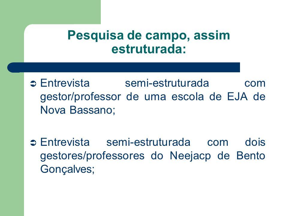 Caminho Metodológico: Pesquisa documental utilizando os documentos que norteiam a EJA no período que compreende a pesquisa.