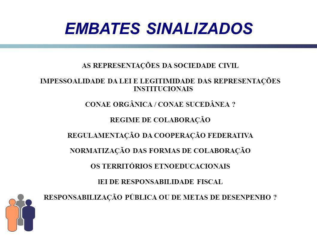 EMBATES SINALIZADOS AS REPRESENTAÇÕES DA SOCIEDADE CIVIL IMPESSOALIDADE DA LEI E LEGITIMIDADE DAS REPRESENTAÇÕES INSTITUCIONAIS CONAE ORGÂNICA / CONAE SUCEDÂNEA .