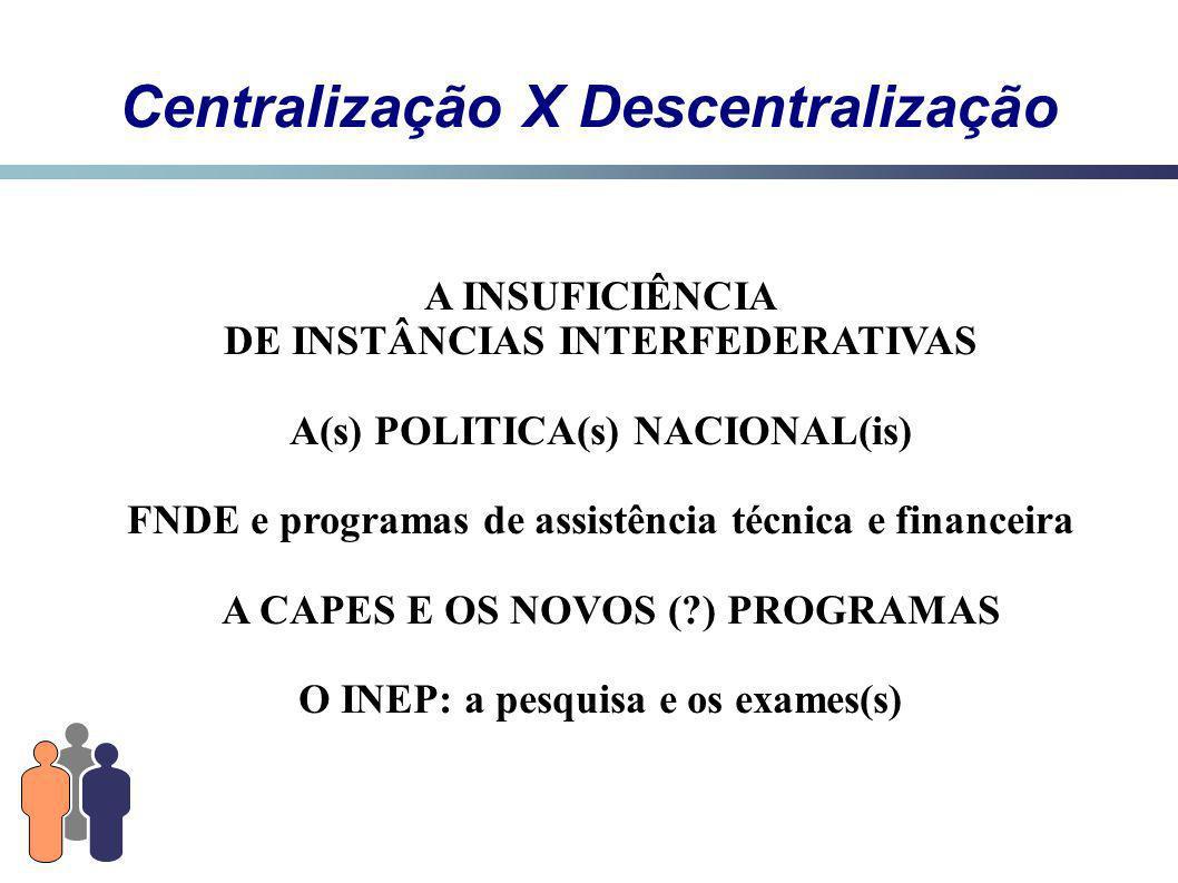 Centralização X Descentralização A INSUFICIÊNCIA DE INSTÂNCIAS INTERFEDERATIVAS A(s) POLITICA(s) NACIONAL(is) FNDE e programas de assistência técnica e financeira A CAPES E OS NOVOS (?) PROGRAMAS O INEP: a pesquisa e os exames(s)