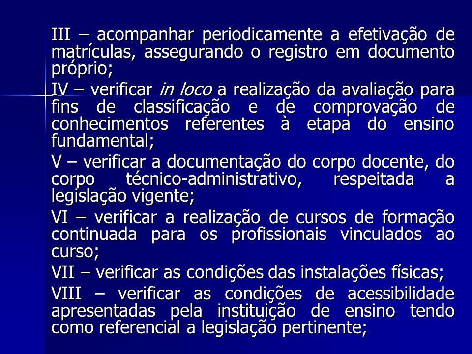 III – acompanhar periodicamente a efetivação de matrículas, assegurando o registro em documento próprio; IV – verificar in loco a realização da avalia