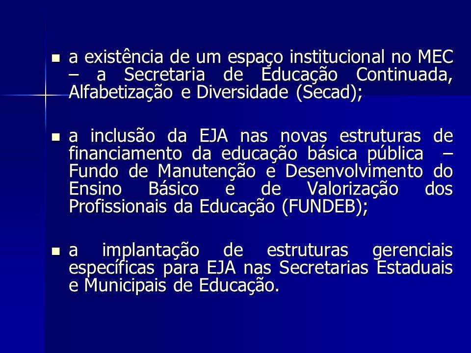 a existência de um espaço institucional no MEC – a Secretaria de Educação Continuada, Alfabetização e Diversidade (Secad); a existência de um espaço i