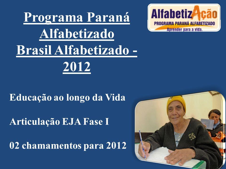 Programa Paraná Alfabetizado Brasil Alfabetizado - 2012 Educação ao longo da Vida Articulação EJA Fase I 02 chamamentos para 2012