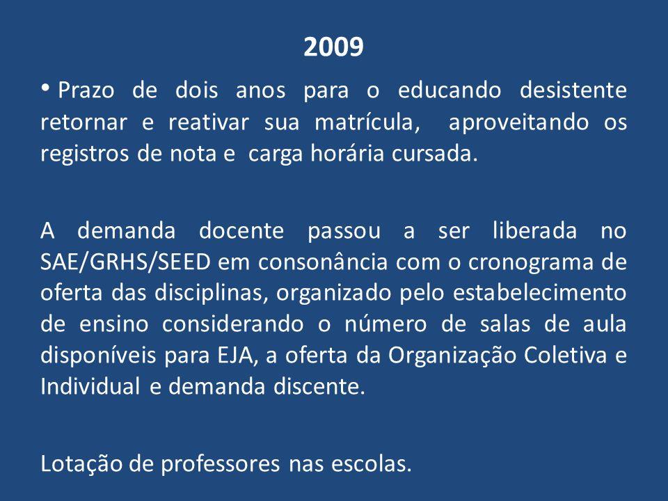 2010 A disciplina de LEM – Espanhol, de oferta obrigatória para o estabelecimento de ensino e opcional para o educando com carga horária para além das 1200 horas.