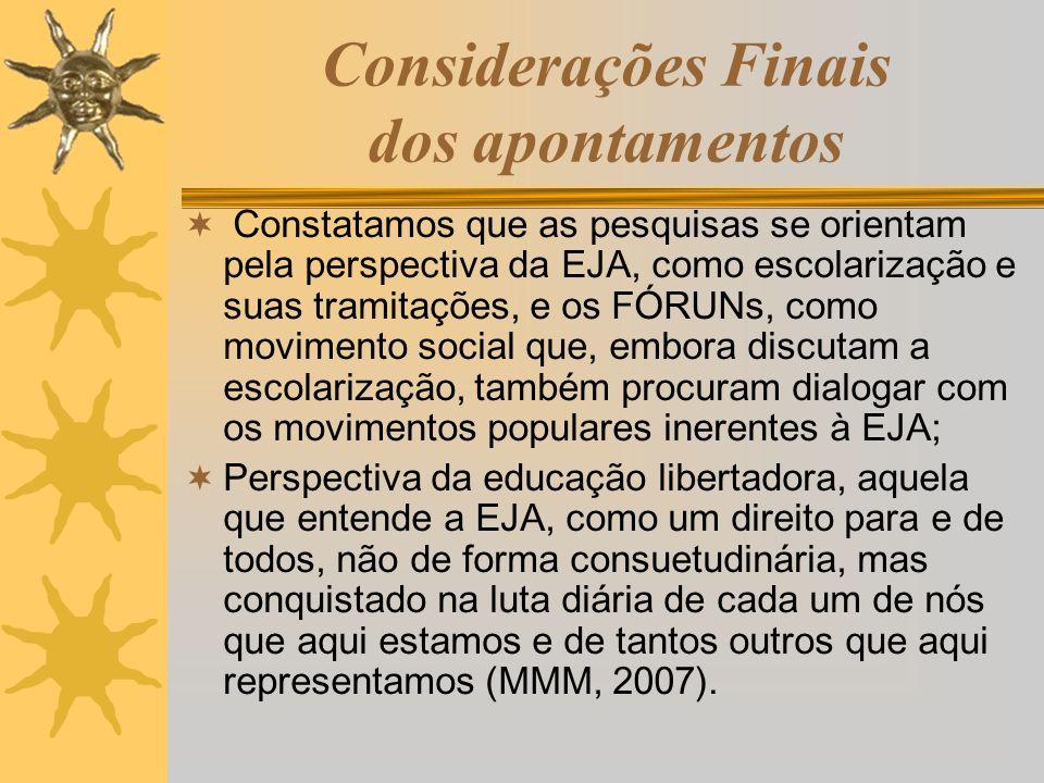 Considerações Finais dos apontamentos Constatamos que as pesquisas se orientam pela perspectiva da EJA, como escolarização e suas tramitações, e os FÓ