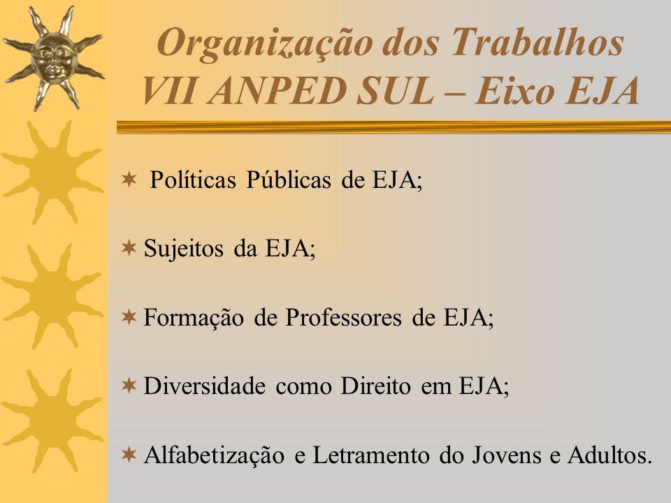 Organização dos Trabalhos VII ANPED SUL – Eixo EJA Políticas Públicas de EJA; Sujeitos da EJA; Formação de Professores de EJA; Diversidade como Direit