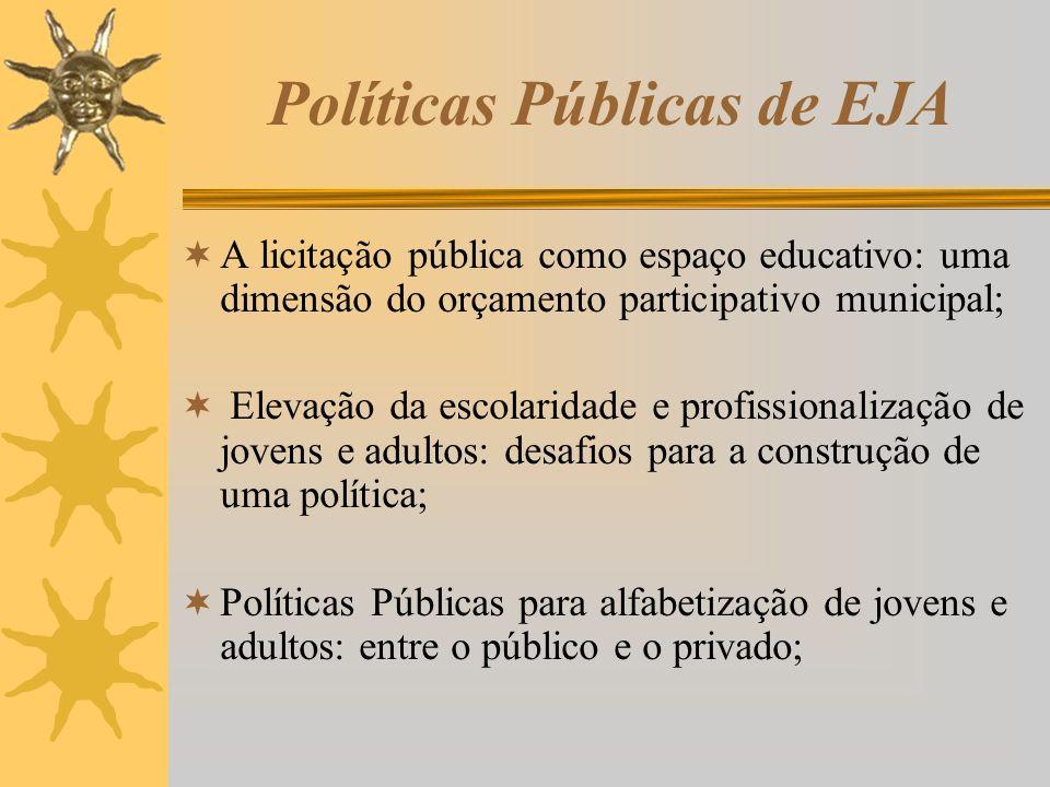 Políticas Públicas de EJA A licitação pública como espaço educativo: uma dimensão do orçamento participativo municipal; Elevação da escolaridade e pro