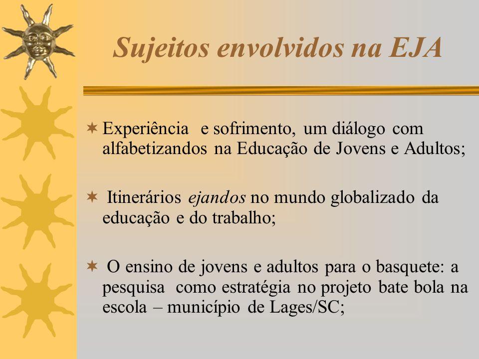 Sujeitos envolvidos na EJA Experiência e sofrimento, um diálogo com alfabetizandos na Educação de Jovens e Adultos; Itinerários ejandos no mundo globa