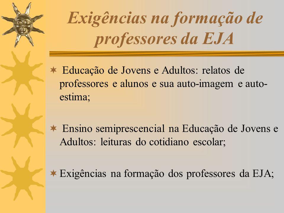 Exigências na formação de professores da EJA Educação de Jovens e Adultos: relatos de professores e alunos e sua auto-imagem e auto- estima; Ensino se