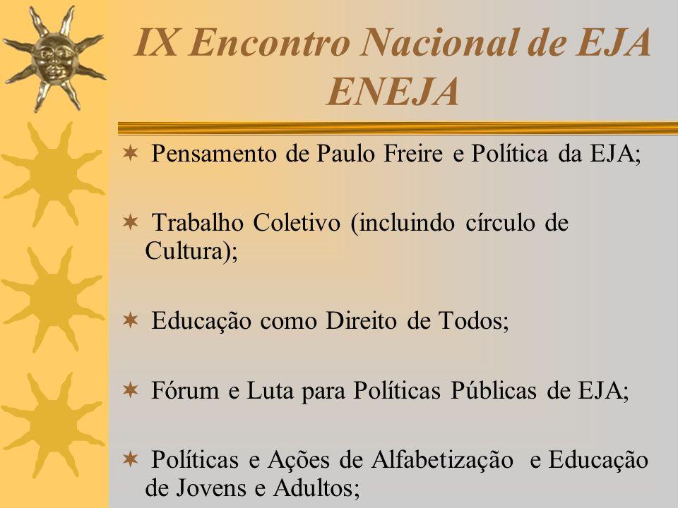 IX Encontro Nacional de EJA ENEJA Pensamento de Paulo Freire e Política da EJA; Trabalho Coletivo (incluindo círculo de Cultura); Educação como Direit