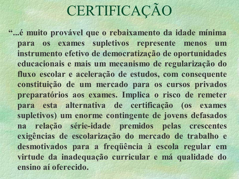 CERTIFICAÇÃO...é muito provável que o rebaixamento da idade mínima para os exames supletivos represente menos um instrumento efetivo de democratização