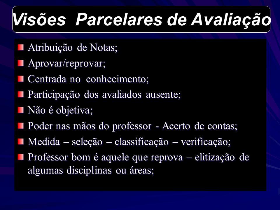 Atribuição de Notas; Aprovar/reprovar; Centrada no conhecimento; Participação dos avaliados ausente; Não é objetiva; Poder nas mãos do professor - Ace