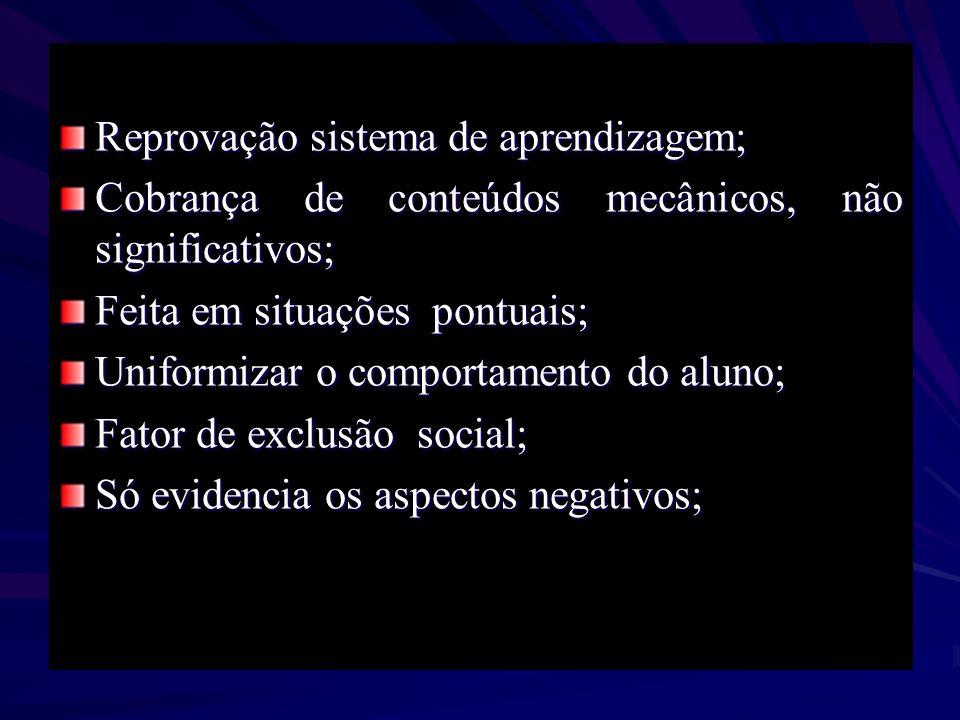 Reprovação sistema de aprendizagem; Cobrança de conteúdos mecânicos, não significativos; Feita em situações pontuais; Uniformizar o comportamento do a