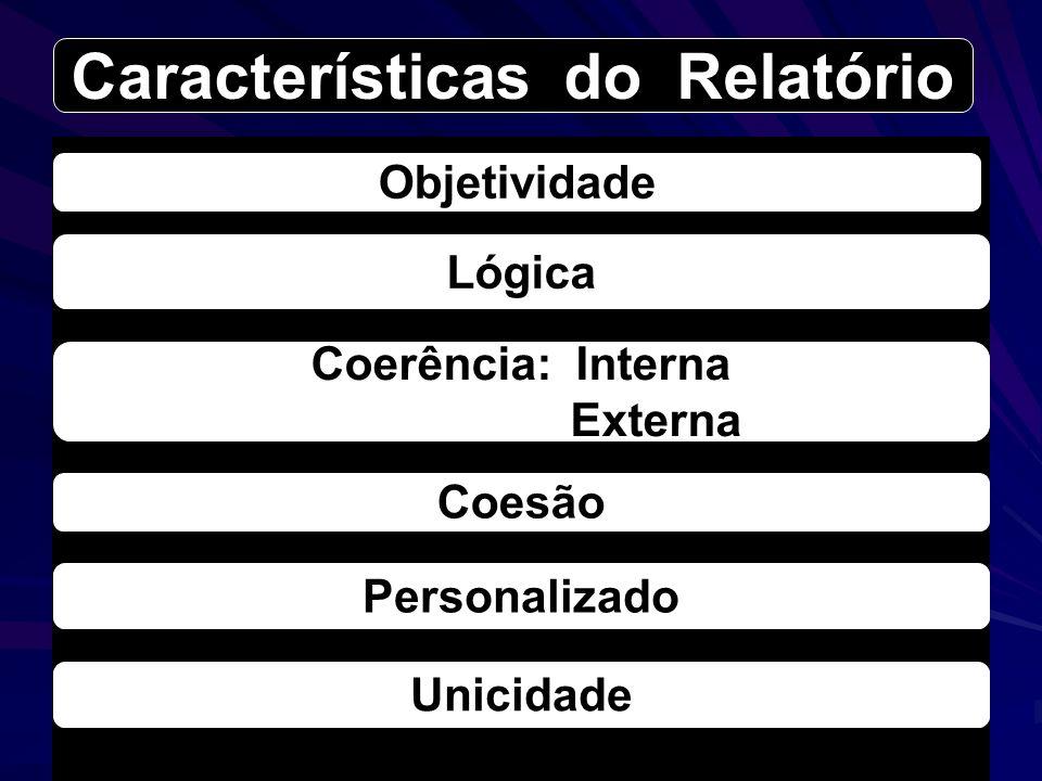 Objetividade Lógica Coesão Unicidade Coerência: Interna Externa Personalizado Características do Relatório