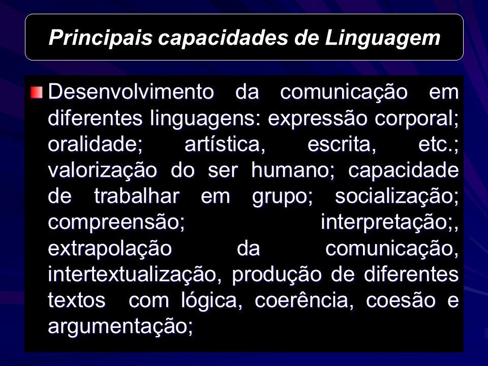 Desenvolvimento da comunicação em diferentes linguagens: expressão corporal; oralidade; artística, escrita, etc.; valorização do ser humano; capacidad