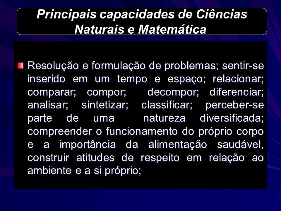 Resolução e formulação de problemas; sentir-se inserido em um tempo e espaço; relacionar; comparar; compor; decompor; diferenciar; analisar; sintetiza