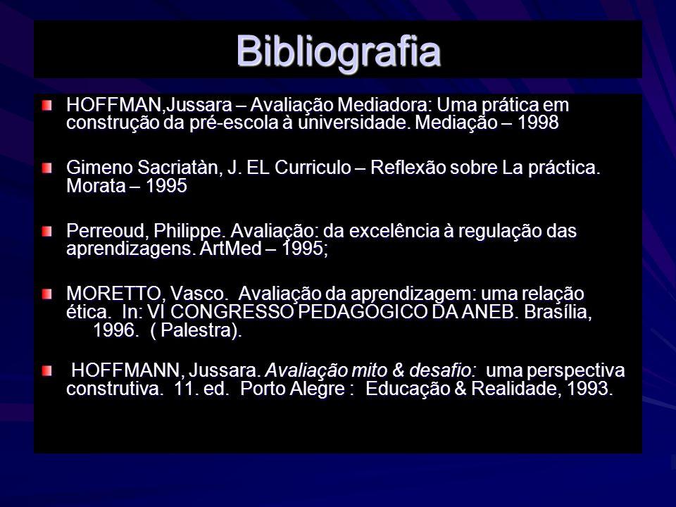 Bibliografia HOFFMAN,Jussara – Avaliação Mediadora: Uma prática em construção da pré-escola à universidade. Mediação – 1998 Gimeno Sacriatàn, J. EL Cu