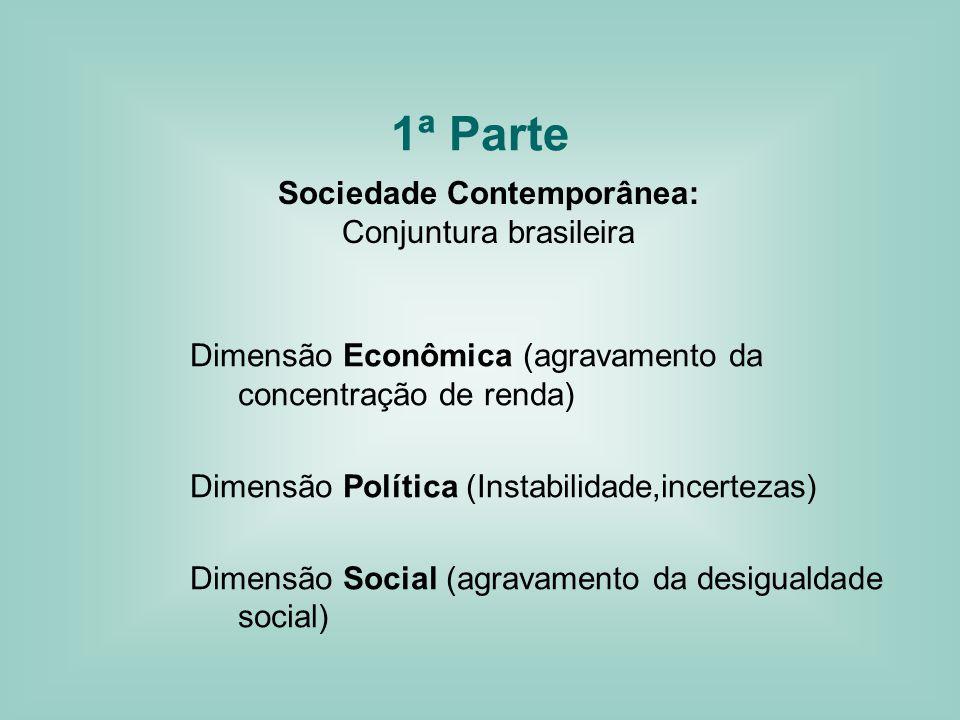 1ª Parte Sociedade Contemporânea: Conjuntura brasileira Dimensão Econômica (agravamento da concentração de renda) Dimensão Política (Instabilidade,incertezas) Dimensão Social (agravamento da desigualdade social)