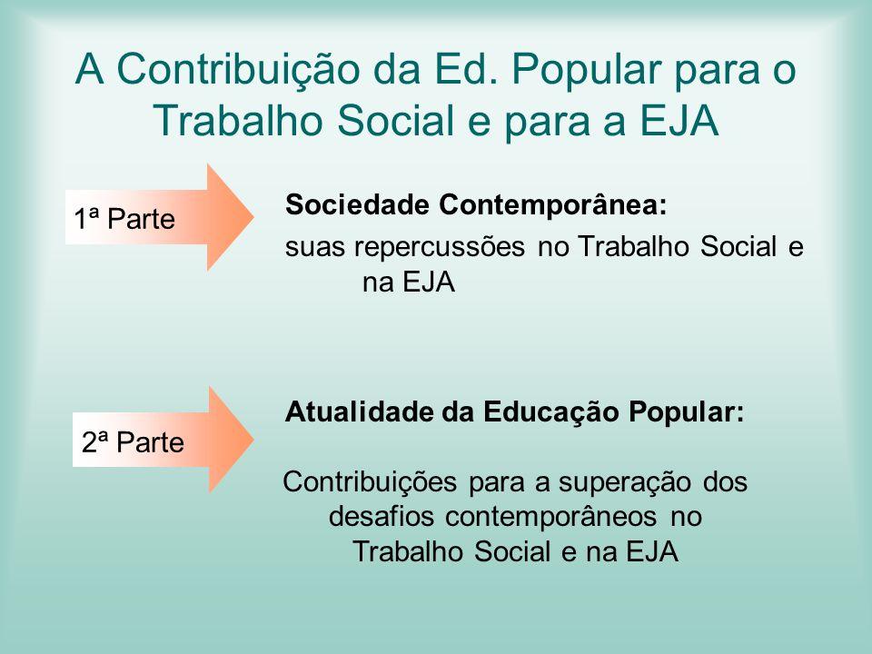 A Contribuição da Ed. Popular para o Trabalho Social e para a EJA Sociedade Contemporânea: suas repercussões no Trabalho Social e na EJA 1ª Parte 2ª P