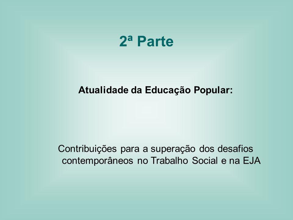 2ª Parte Atualidade da Educação Popular: Contribuições para a superação dos desafios contemporâneos no Trabalho Social e na EJA
