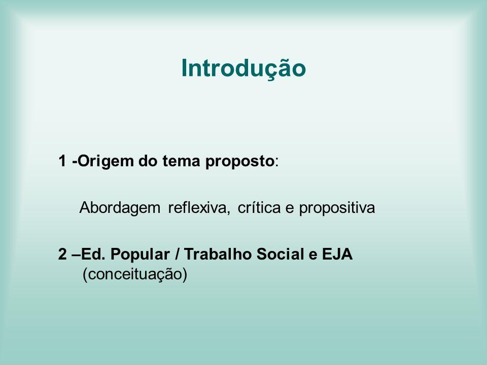 Introdução 1 -Origem do tema proposto: Abordagem reflexiva, crítica e propositiva 2 –Ed. Popular / Trabalho Social e EJA (conceituação)