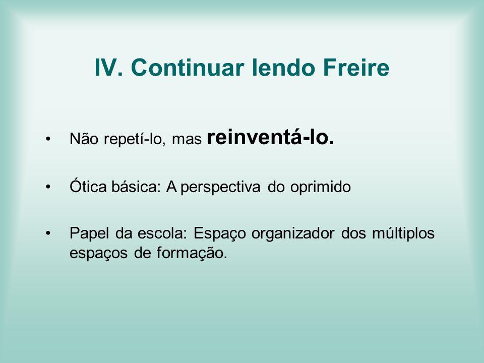 IV. Continuar lendo Freire Não repetí-lo, mas reinventá-lo. Ótica básica: A perspectiva do oprimido Papel da escola: Espaço organizador dos múltiplos