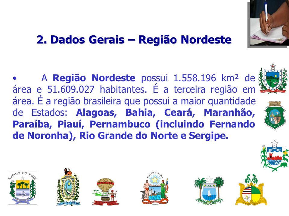 2. Dados Gerais – Região Nordeste A Região Nordeste possui 1.558.196 km² de área e 51.609.027 habitantes. É a terceira região em área. É a região bras