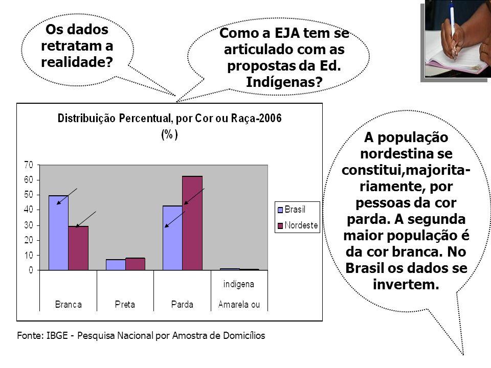 Os dados retratam a realidade? Como a EJA tem se articulado com as propostas da Ed. Indígenas? Fonte: IBGE - Pesquisa Nacional por Amostra de Domicíli