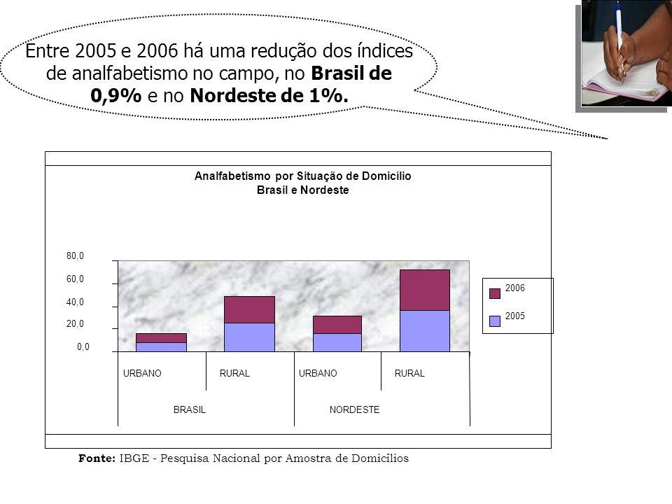 Analfabetismo por Situação de Domicílio Brasil e Nordeste 0,0 20,0 40,0 60,0 80,0 URBANORURALURBANORURAL BRASILNORDESTE 2006 2005 Fonte: IBGE - Pesqui
