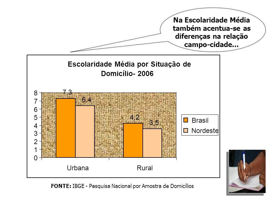 FONTE: IBGE - Pesquisa Nacional por Amostra de Domicílios Na Escolaridade Média também acentua-se as diferenças na relação campo-cidade... Escolaridad
