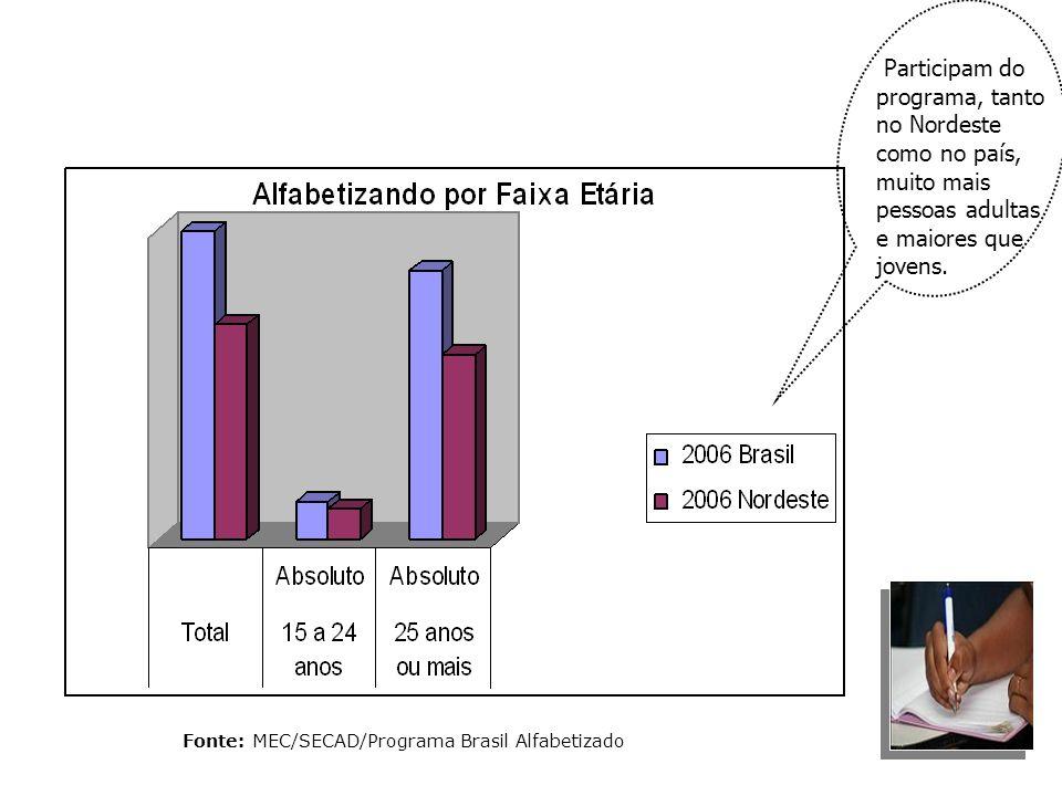 Fonte: MEC/SECAD/Programa Brasil Alfabetizado Participam do programa, tanto no Nordeste como no país, muito mais pessoas adultas e maiores que jovens.