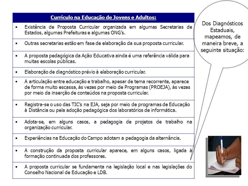Currículo na Educação de Jovens e Adultos: Existência de Proposta Curricular organizada em algumas Secretarias de Estados, algumas Prefeituras e algum