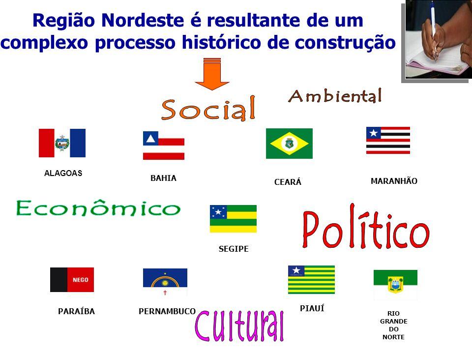 ALAGOAS BAHIA CEARÁ PARAÍBA MARANHÃO PERNAMBUCO PIAUÍ SEGIPE RIO GRANDE DO NORTE Região Nordeste é resultante de um complexo processo histórico de con