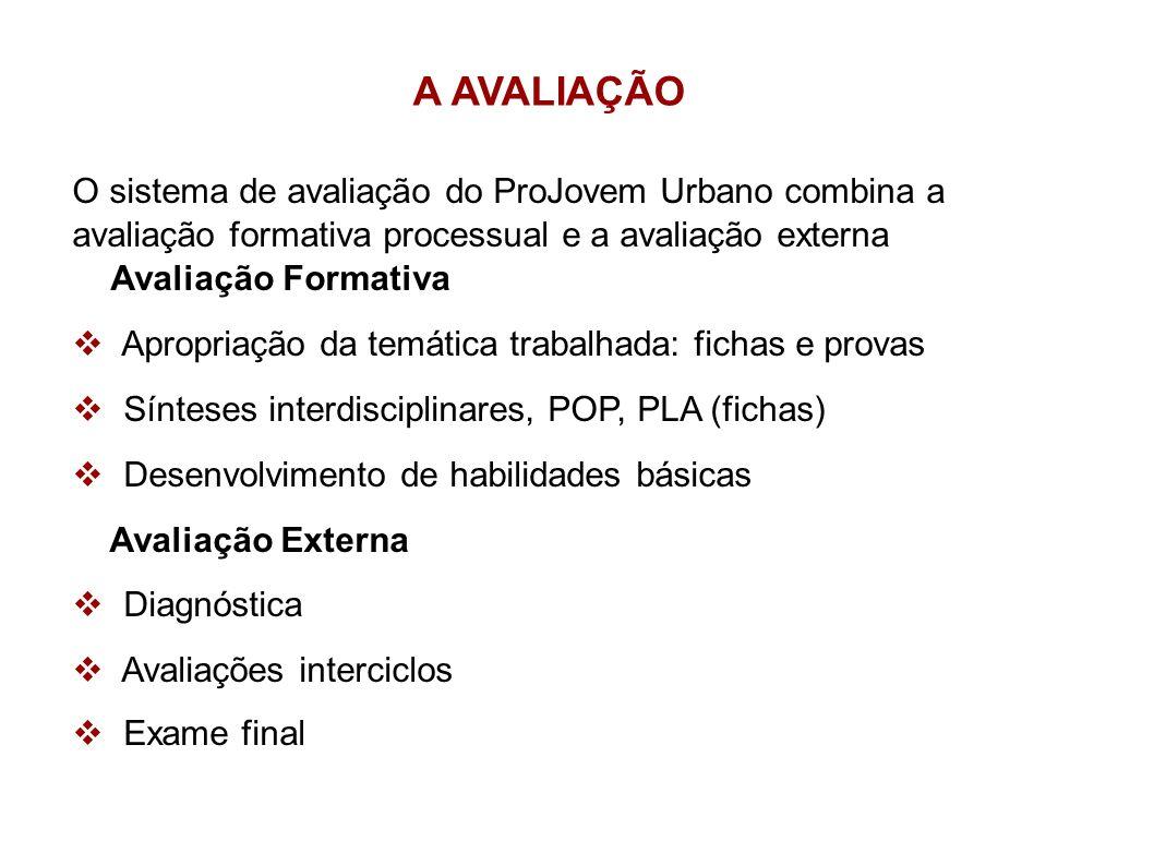 A AVALIAÇÃO O sistema de avaliação do ProJovem Urbano combina a avaliação formativa processual e a avaliação externa Avaliação Formativa Apropriação d