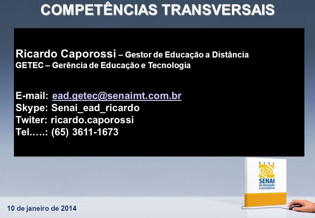 10 de janeiro de 2014 COMPETÊNCIAS TRANSVERSAIS Ricardo Caporossi – Gestor de Educação a Distância GETEC – Gerência de Educação e Tecnologia E-mail: e