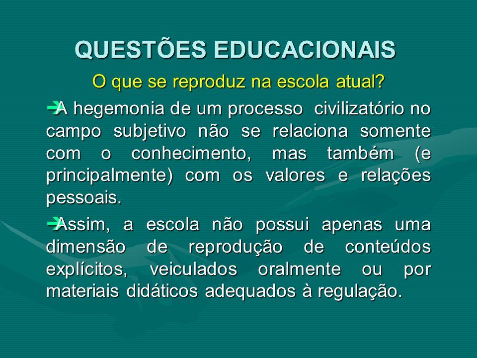 O que se reproduz na escola atual? A hegemonia de um processo civilizatório no campo subjetivo não se relaciona somente com o conhecimento, mas também