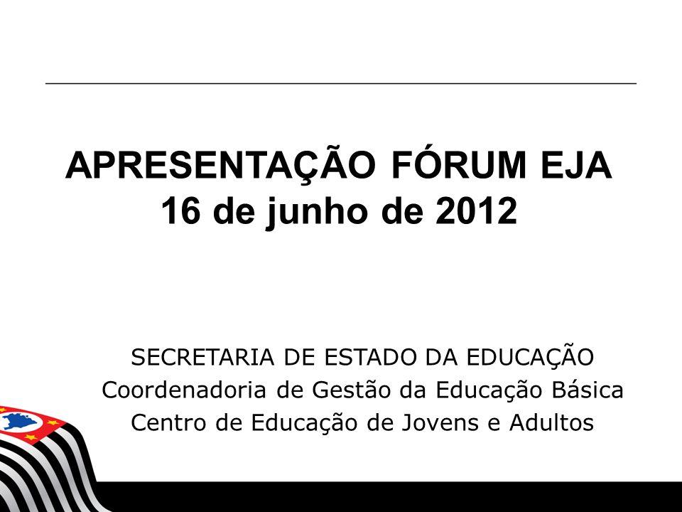 SECRETARIA DE ESTADO DA EDUCAÇÃO Coordenadoria de Gestão da Educação Básica Centro de Educação de Jovens e Adultos APRESENTAÇÃO FÓRUM EJA 16 de junho