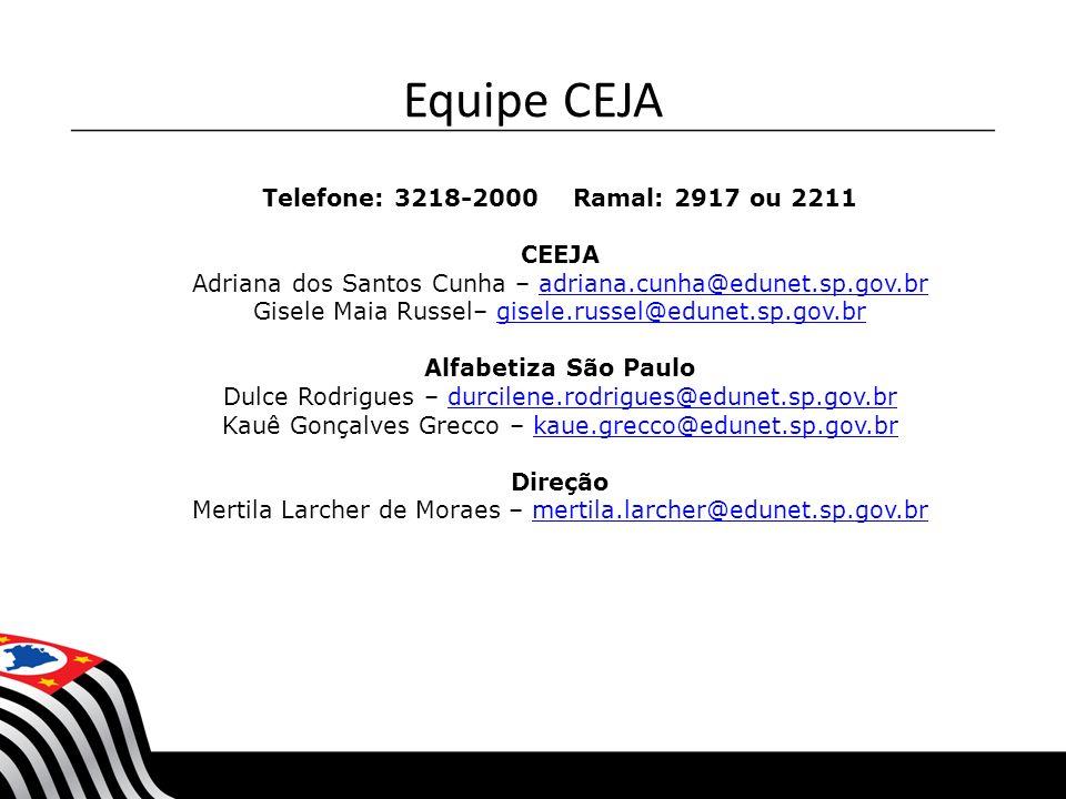 Telefone: 3218-2000 Ramal: 2917 ou 2211 CEEJA Adriana dos Santos Cunha – adriana.cunha@edunet.sp.gov.bradriana.cunha@edunet.sp.gov.br Gisele Maia Russ
