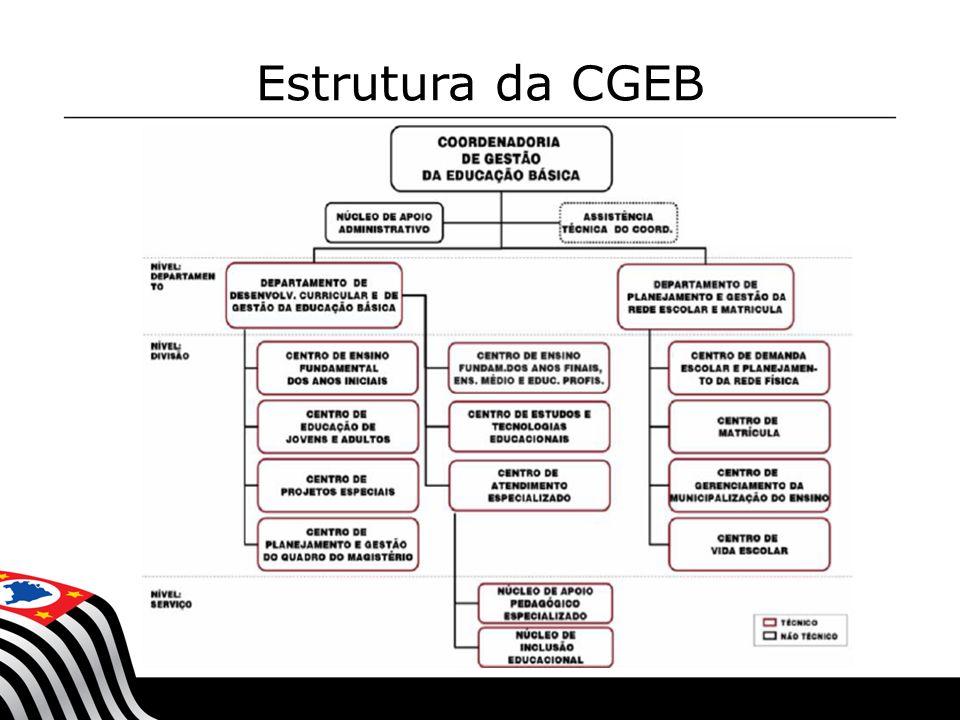 Eixos do CEJA/CGEB Programa Alfabetiza São Paulo (parcerias com ONG) Curso presencial/semestral (EJA - escolas da rede estadual) Curso de presença flexível/matrícula por disciplina (CEEJA) Certificação de competência (ENEM)