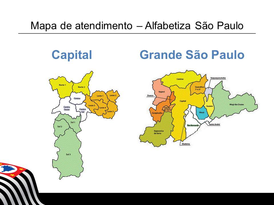 Mapa de atendimento – Alfabetiza São Paulo Estado de São Paulo - Interior