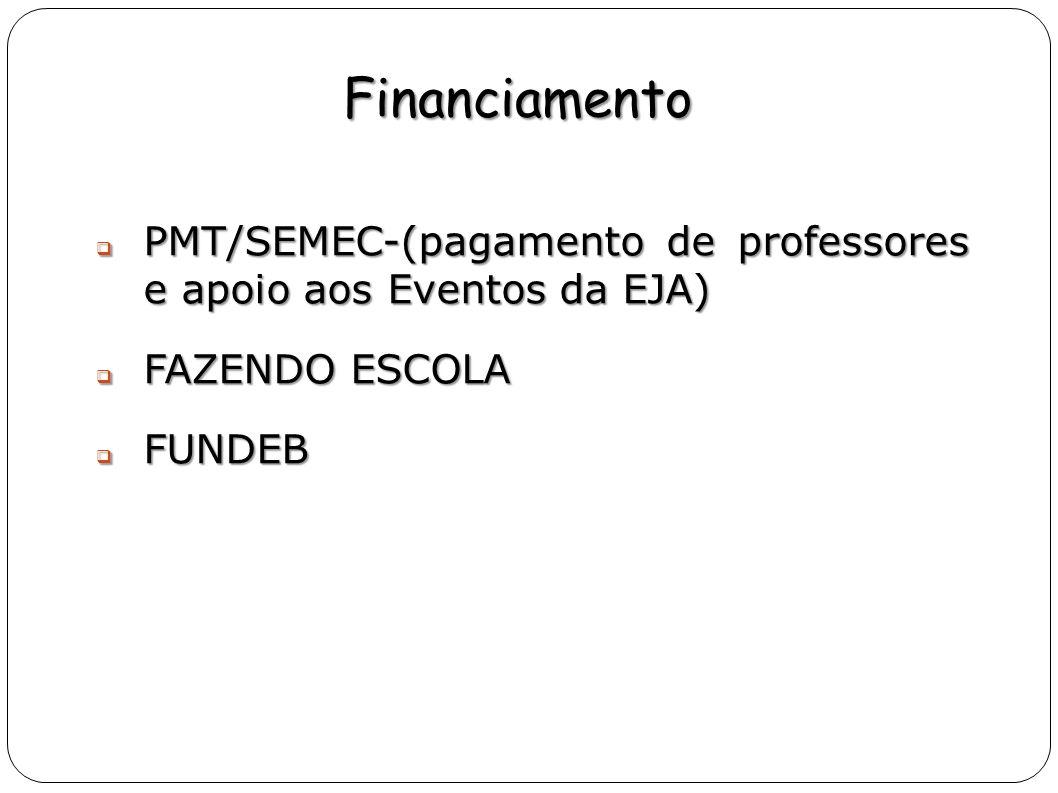 Financiamento PMT/SEMEC-(pagamento de professores e apoio aos Eventos da EJA) PMT/SEMEC-(pagamento de professores e apoio aos Eventos da EJA) FAZENDO